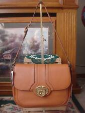NWT EMMA FOX ~ HARROW LARGE FLAP ~COGNAC/TAN PEBBLED LEATHER SHOULDER BAG ~$268