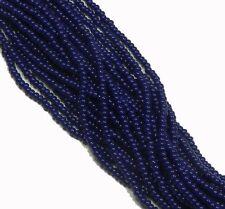 Navy Blue Opaque Czech 8/0 Glass Seed Beads  12 Strand Hank Preciosa