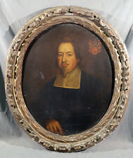 Style of Van Dyke Oil Painting with Crest in Oval Frame 18th Century Portrait