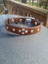 100% Leather & Crystal Small Dog Collar