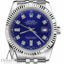 Rolex 26mm Datejust Classic Blue 6 & 9 Baguette Cut Diamond Numbers 18K & Steel