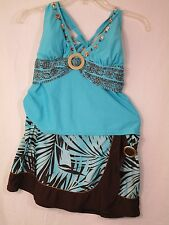 "Christina Women's 2 piece Swimwear Size M Bathing Suit Blue & Brown ""Very Good"""