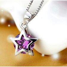 Women 925 Sterling Silver Zircon Star Crystal Pendant Necklace Chain Jewelry GOO