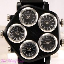 Inusual Negro & Plata 5 Zona Multi Dial World Time Para Hombre Hip Hop Gangster Reloj