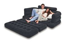 Inflatable Pull Out Sofa Queen Bed Mattress Couch Chair Blow Up Seat Furniture