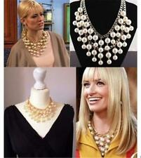 2 Broke Girls Caroline inspired Gold and Cream Pearl pendant Chain necklace Gift