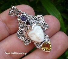Silver and Mixed Gemstone Carved Bone Goddess Pendant NG-1268