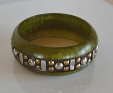 art deco SWIRL pearlized green LUCITE BANGLE BRACELET CARVED STUD BRASS INLAY