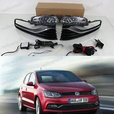 1Set LED Daytime Running Light DRL Fog Lights with Grille For VW Polo 2014 2015