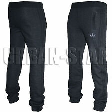 Mens Adidas Originals SPO Fleece Trefoil Tracksuit Pants Bottoms Grey/Black S-XL