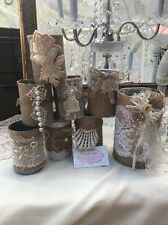 Burlap Lace Recyclable Cans Shabby Rustic Barn Wedding Set Of 8PC Centerspiece