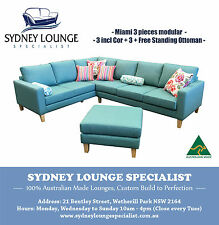 Brand New AUS MADE Miami 3 pieces Corner Modular with Ottoman, Sofa Lounge Couch