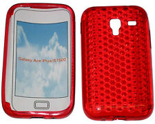 For Samsung Galaxy Ace Plus GT S7500 Pattern Gel Case Protector Cover Red New UK