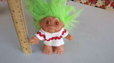 Vintage Dam Troll Doll Green Hair White  outfit with Red rick/rack 1986 4.5""
