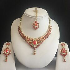 RED GOLD KUNDAN INDIAN COSTUME JEWELLERY NECKLACE EARRINGS CRYSTAL SET NEW GIFT