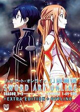 Sword Art Online (Sea. 1+2 + Extra Edition + Offline) DVD - English + EXTRA GIFT