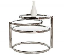 Table d'appoint art deco chrome/verre - 3 niveaux