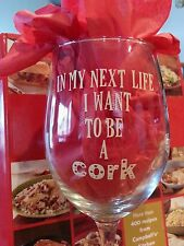 """Vinyl Wine Glass Decals-""""In My Next Life I Want To Be a Cork""""-Set of *4* Beige"""