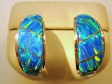 Blue Glow FIRE OPAL Post Half Tapered Hoop Sterling Silver Earrings 925 Kingsman