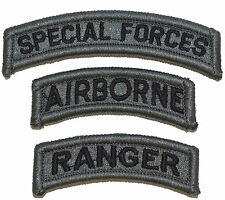 US Army Special Forces Airborne Ranger Patch Set ACU/Foliage Green (3 patches)