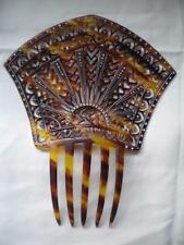 Antique Vtg France French Pierced Hair Comb Tortoise Celluloid Rhinestones