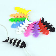 10pcs Fish Bone Earphone Headphone Cable Cord Winder Wrap Holder Mix Colors