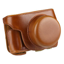 Detachable PU Leather Camera Case Bag Cover for Panasonic Lumix GF7 Brown+ Strap