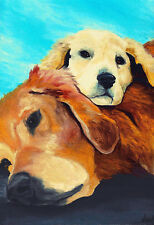 BIG 13x19 GOLDEN RETRIEVER & PUPPY Signed Dog Art PRINT of Painting by VERN