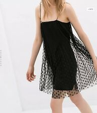 NWT Very RARE! ZARA Sheer Overlay Dress Black Polka Dot Lace Spaghetti Strap XS