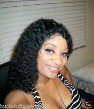 100% Indian Remy Full Lace Wig Brazilian Tight curl color #1
