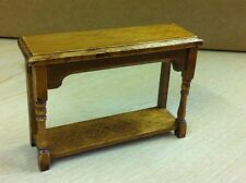 Hall Side Table In Oak, Dolls House Miniature, Walnut Wood furniture. 1.12th