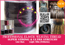 Black Brazilian Knot Hair Extensions Ultra Stretchy Elastic Weaving Threads-100M
