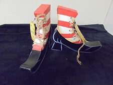 "Pair of Wooden Shelf Witches Shoes w Laces Metal Tags ""The Witch Is Out""10x8x1.5"