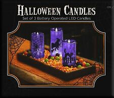 Halloween LED Flameless Candles Purple Glowing 3 Set 15cm/19cm Glowing