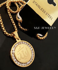"Gold Stainless Steel CZ Allah muslim Pendant & 24"" Round Box Chain Necklace 174G"