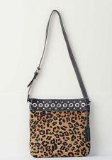 Aqua Madonna Womens Brown Leather Calf Hair Leopard Messenger Shoulder Bag Purse