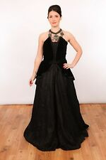 Vintage black velvet victorian gothic wedding dress prom dress evening dress