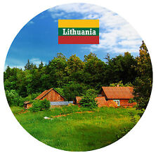 LITHUANIA - SIGHTS / FLAG - ROUND NOVELTY SOUVENIR FRIDGE MAGNET - NEW  GIFT