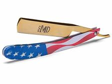 ~SHAVE READY~ MD Barber Straight Razor - USA Flag - Gold Rush