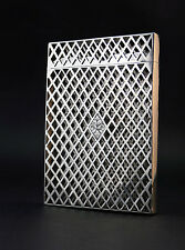 c1842, ANTIQUE VICTORIAN DIAMOND LATTICEWORK STERLING SILVER CALLING CARD CASE