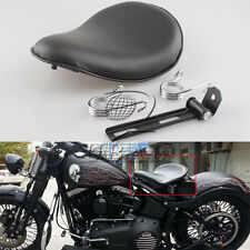 "Black Motorcycle Leather Seat + 2"" Spring Solo Bracket Sportster Chopper Bobber"