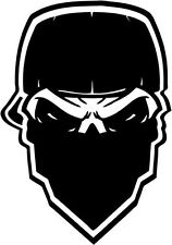 """Gangster Mask Skull Decal Sticker Car Truck Window- 6"""" Tall White Color"""