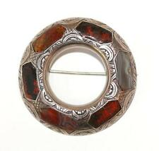 Antique Scottish Celtic Sterling Silver Agate Pebble Pin Brooch Hand Chased 1900