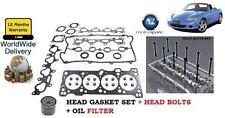 FOR MAZDA MX5 1.6i + EUNOS IMPORT 1990-2005 CYL HEAD GASKET & BOLT SET + OIL KIT