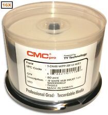 100-Pak CMC PRO (TY Technology) WATERSHIELD & GLOSSY White Inkjet Hub 16X DVD-Rs