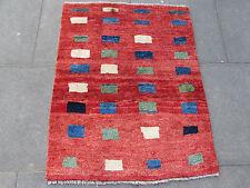 VECCHIO Fatto a Mano Tradizionale Persiano Orientale Gabbeh Tappeto Lana Rosso 108x87cm