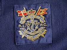 POLO RALPH LAUREN mens polo shirt L custom fit MARINE SUPPLIES NEW YORK crest