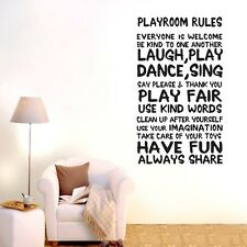 Wall Quote Art Decal Vinyl Sticker Removable Decor PLAYROOM RULES Mural DIY