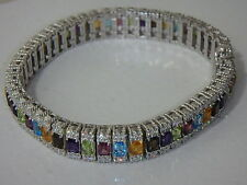 JUDITH RIPKA STERLING MULTI GEMSTONE DIAMONIQUE TENNIS BRACELET NEW 7 INCH