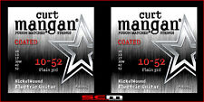 2 STRING SET 10-52 COATED NICKEL WOUND CURT MANGAN ELECTRIC GUITAR STRINGS